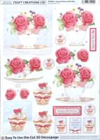 DS412 Teacup, Flowers & Cake, A4 Decoupage sheet