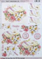 DS415 Book & Flowers, A4 Decoupage sheet