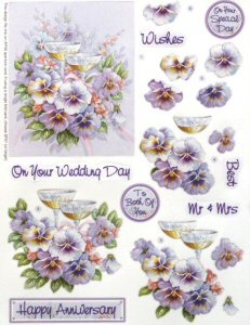 DS418 Champagne & Violas , A4 Decoupage sheet