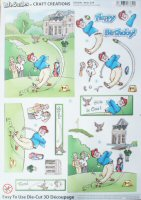 DS426 Life Smiles Golf, A4 Decoupage sheet